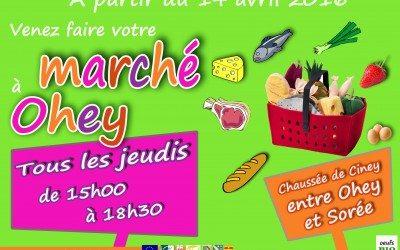 Un marché à Ohey, tous les jeudis, entre 15h et 18h30