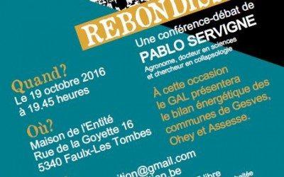 Conférence de Pablo Servigne (19/10)